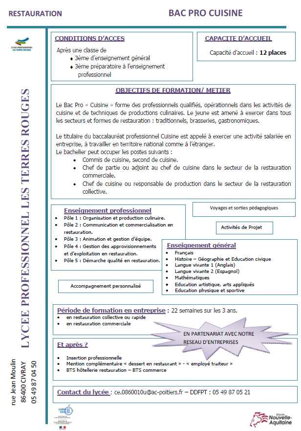 Nos formations for Technologie cuisine bac pro