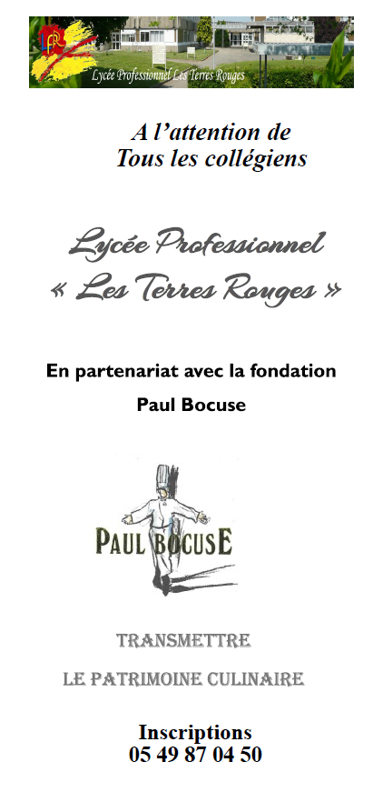ateliers de la fondation paul bocuse au lp les terres rouges. Black Bedroom Furniture Sets. Home Design Ideas